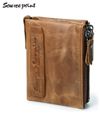 Double Zipper Elegant Retro Durable In Use Crazy Horse Leather Wallet