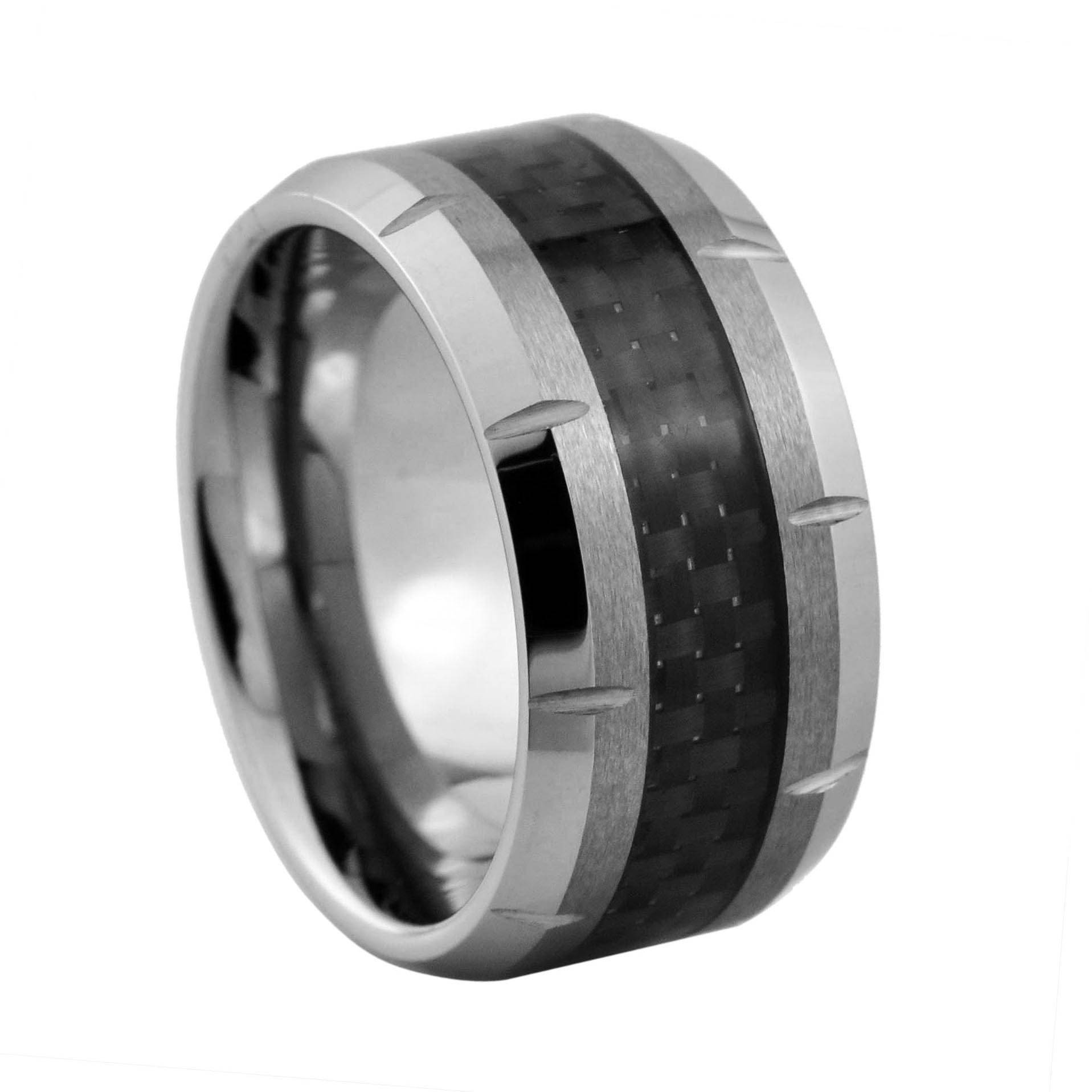 Top Quality Men's Beveled Tungsten Carbide Rings Inlaid Black Carbon Fiber, Comfort Fit 8mm
