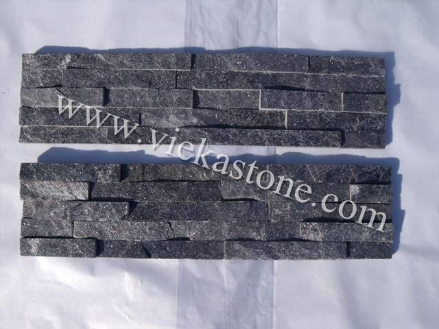 black quartzite culture stone wall panel
