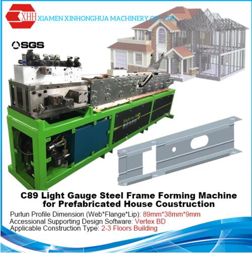 Prefabricated House C89 Light Steel Frame CAD Roll Forming Machine Price with Vertex BD Software