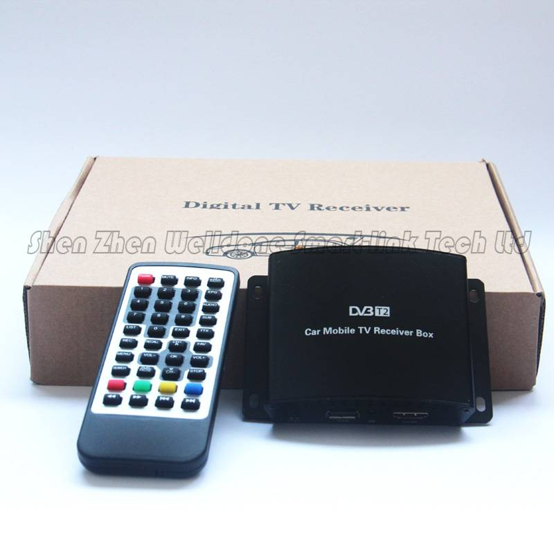 mobile digital car DVB-T2 tv receiver two tuner remote control tv set top box with HDMI Out put