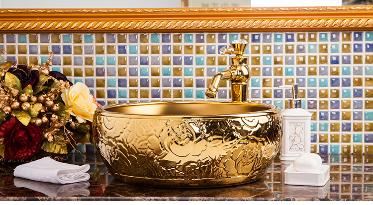 European Style Gold Cloakroom Handmade Above Countertop Washbowl Ceramic Wash Basin Sinks