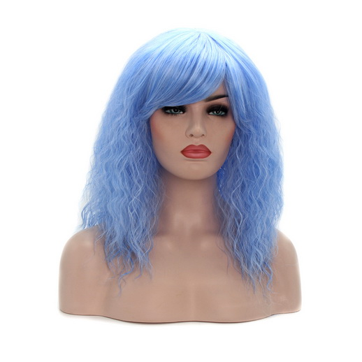 Afro Kinky Curly Hair, Blue Color Wave Hair Wigs, Fashion Hair Wigs for Girl