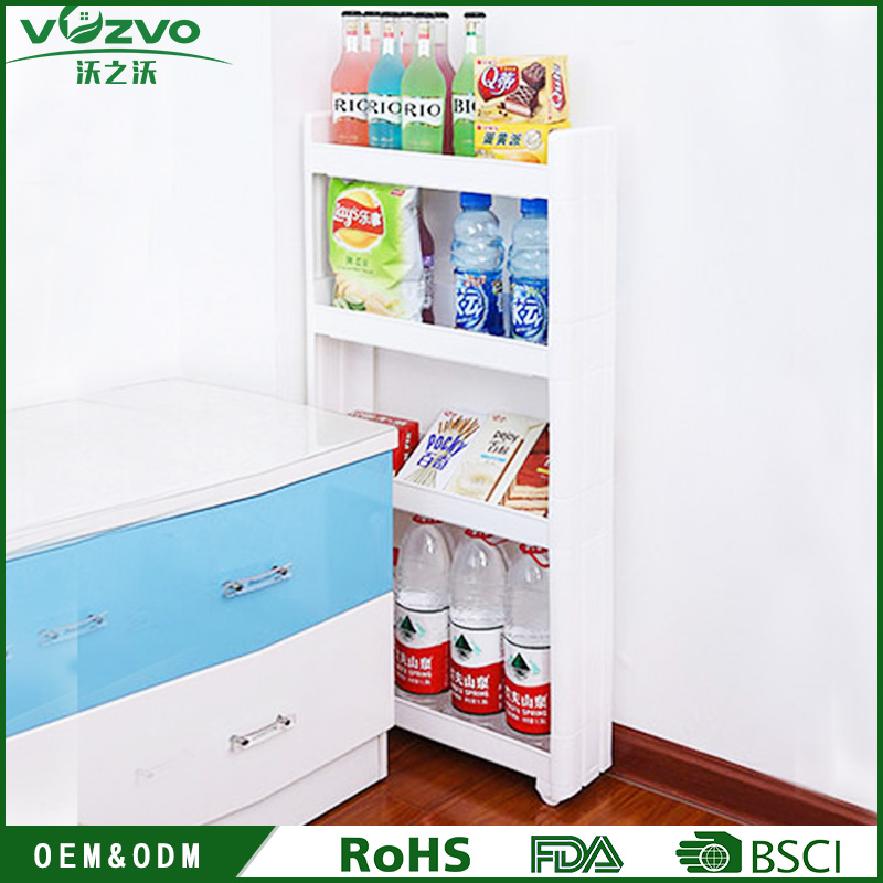 Space saving wheeled plastic storage shelves kitchen storage rack