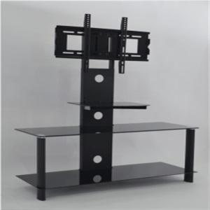 black silk screen tempered glass tv stand