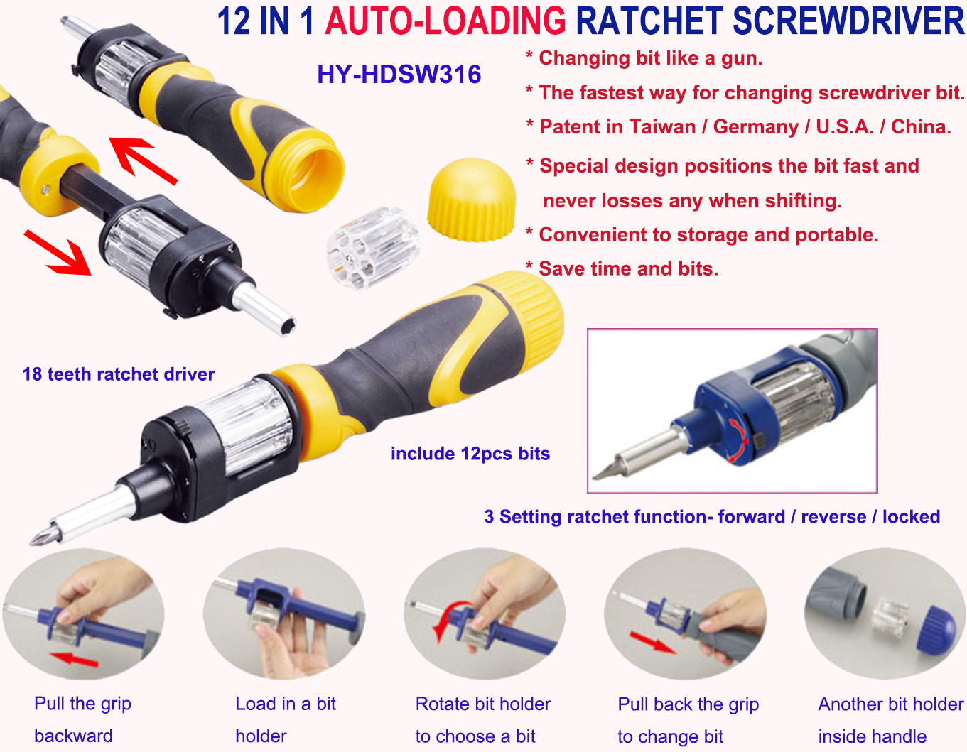 12 In 1 Auto loading Ratchet Screwdriver