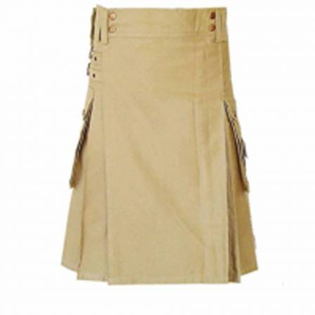 KHAKI UTILITY KILT ANTIQUE BRASS BUTTONS