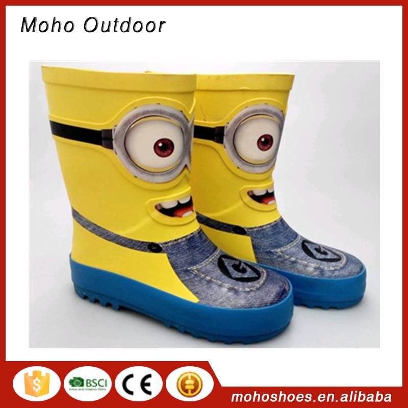 China OEM brand kids and children natural cartoon rubber rain boots