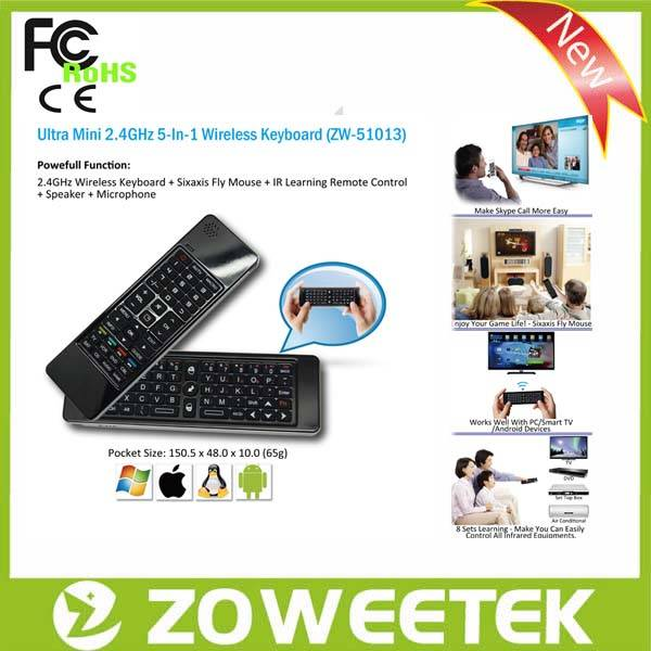 Universal Remote Control Multimedia Mini Keyboard For Google TV