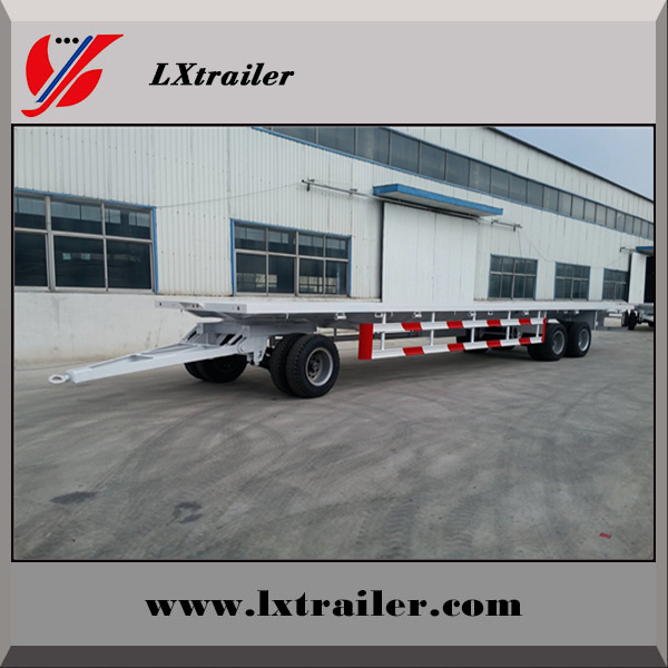 China manufacturer turnable drawbar flatbed full truck trailer