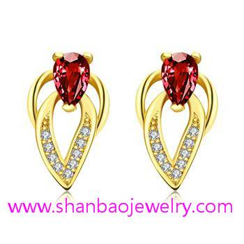 Gold Plated Costume Fashion Zircon Jewelry Earrings
