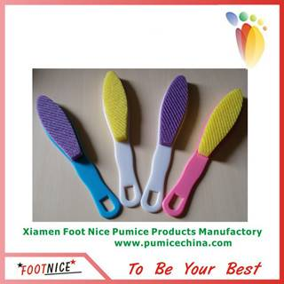 foot foam pumice sponges with emery board and plastic handle