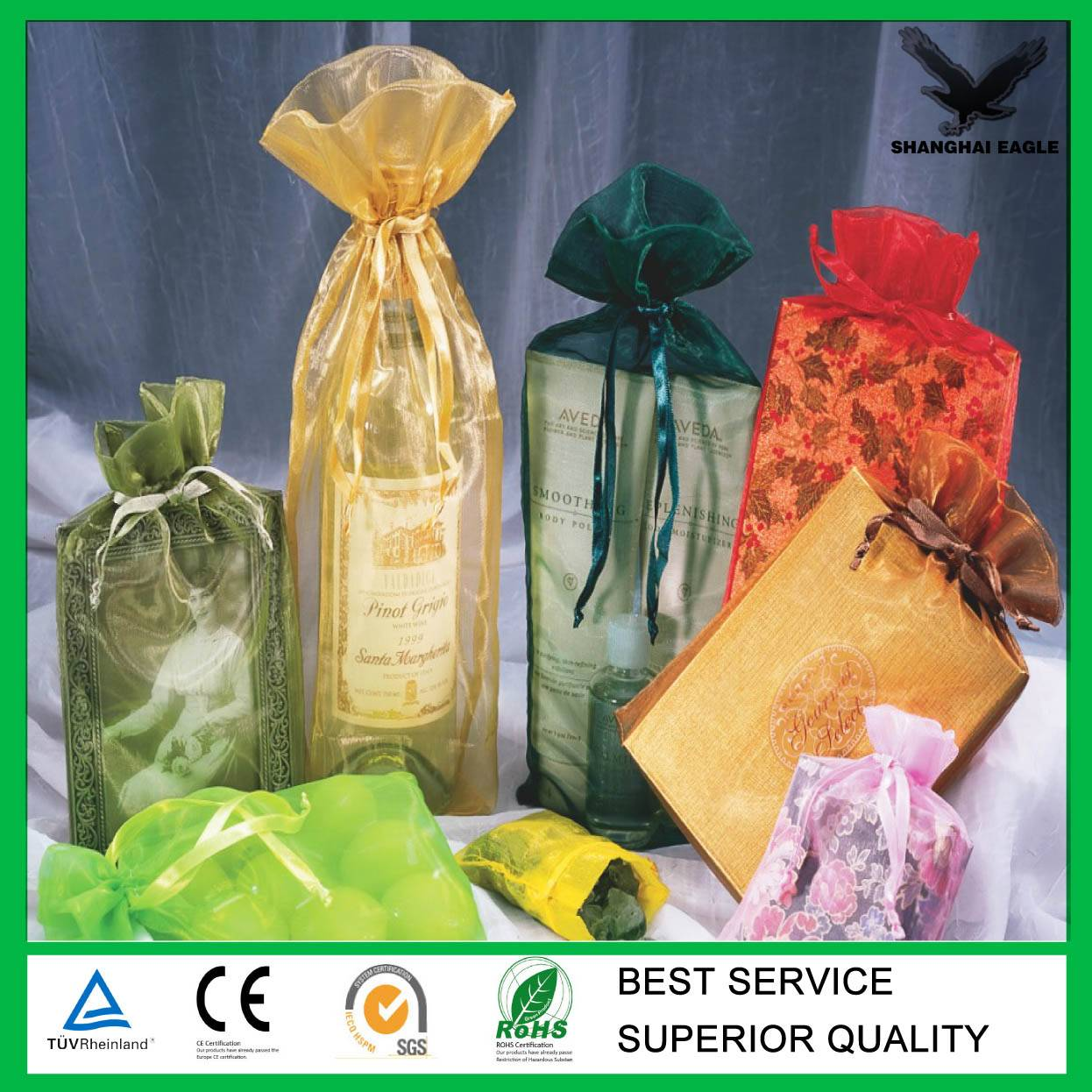 Organza bags with printed logo ribbon (directly from factory)
