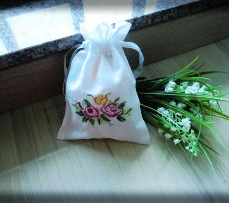 vintage linen floral embroidery gift bag sugar packing bag