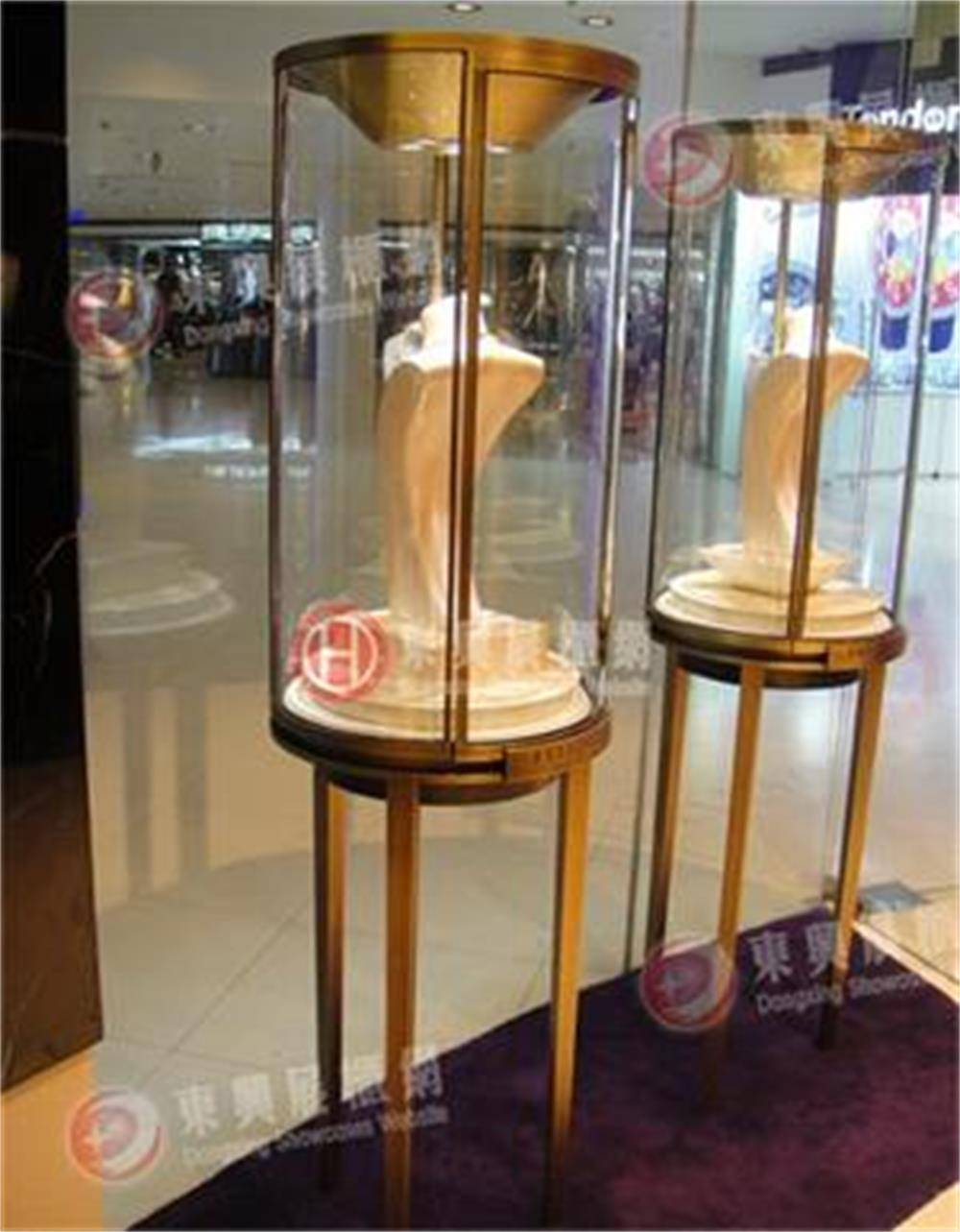curved surface glass jewelry showcase, watch display showcase, product display counter