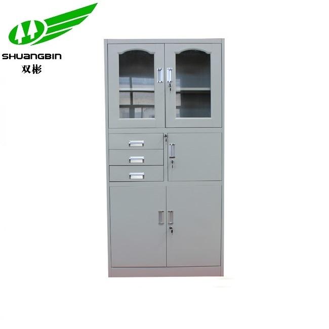 Large capacity durable glass door multipurpose filing cabinet metal