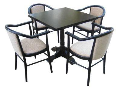 Square table and 4 upholstered carver chairs