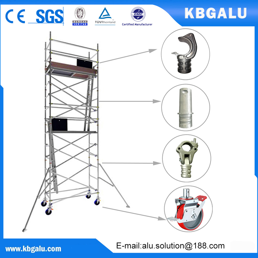 single width aluminum scaffold tower with 5.0m standing height