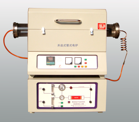 1000-1400 Centigrade High Temperature Openable Tube Furnace With Gas Control Cabinet