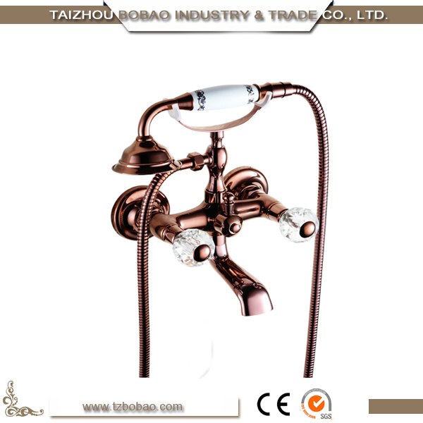 Floor Stand Brass Shower Faucet Set Bathtub Copper Antique Shower Mixer