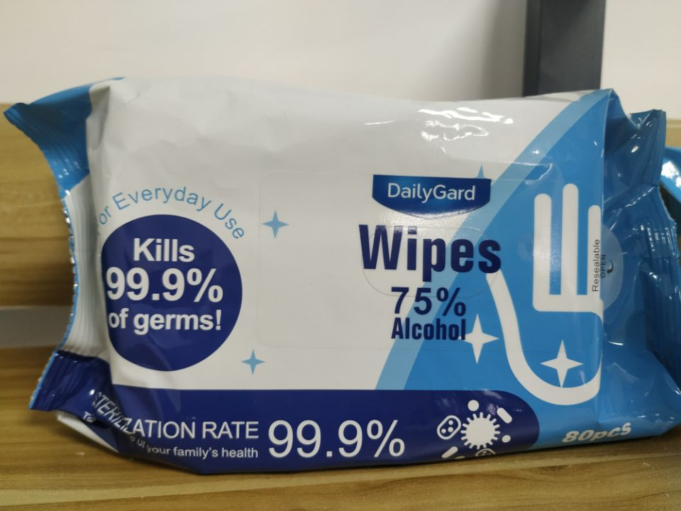 75% Alcohol Wipes Food grade Alcohol in Wet Wipes Soft Package with Lid or not