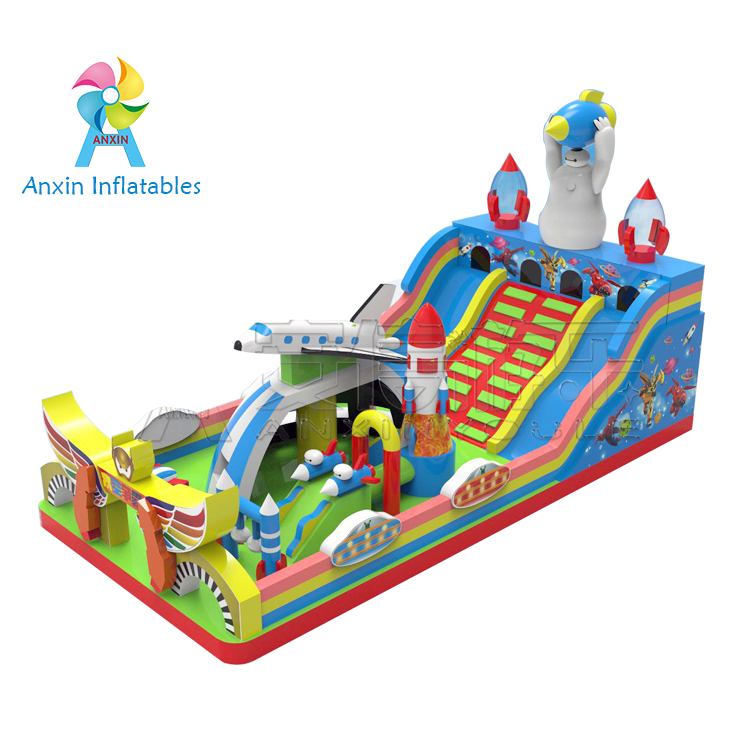 inflatable space exploration super Aleste bouncy house, inflatable space megaforce castle with slide