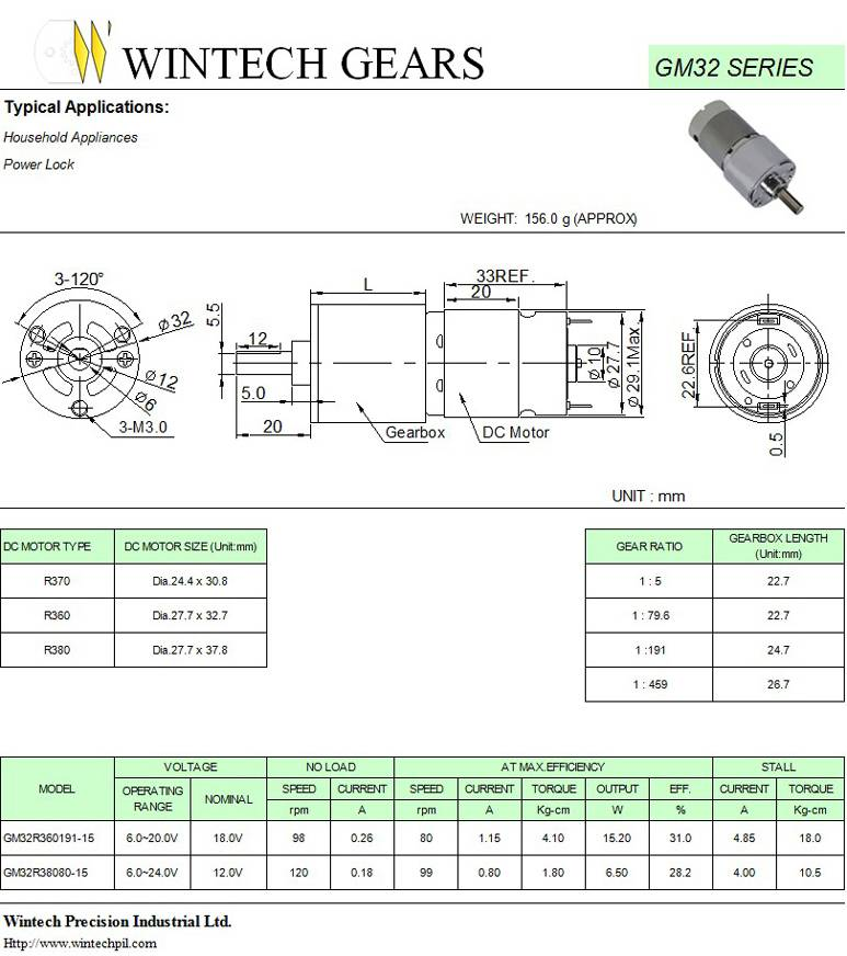 GM32 Geared Motors