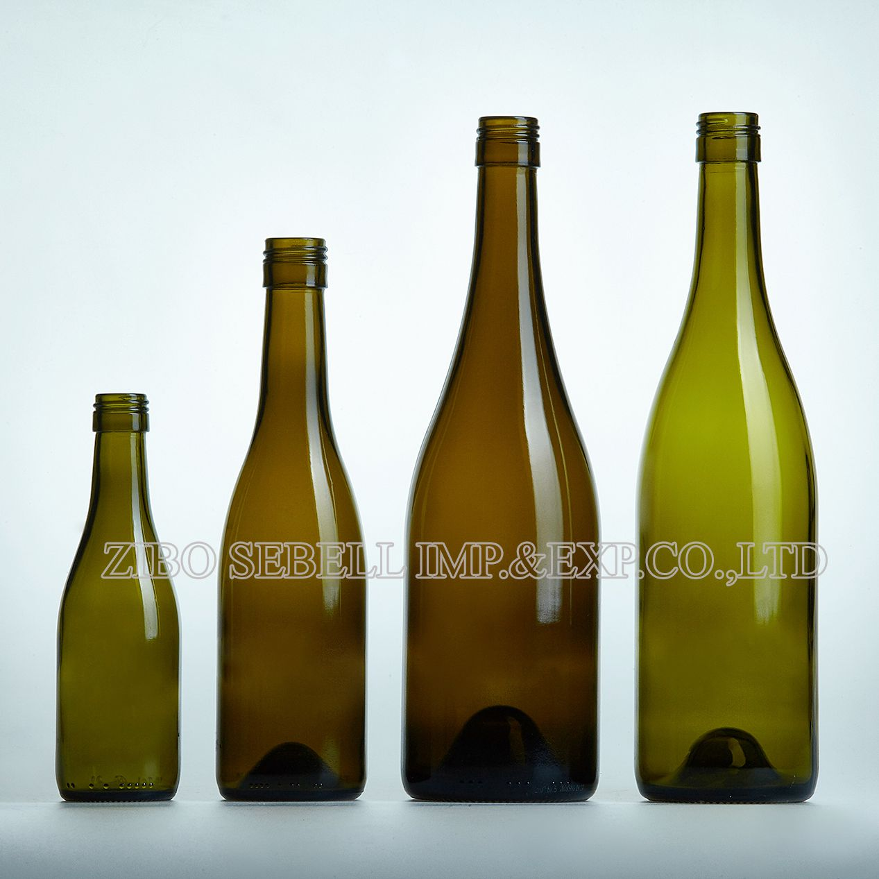 750ml glass Burgundy wine bottle in antique green color