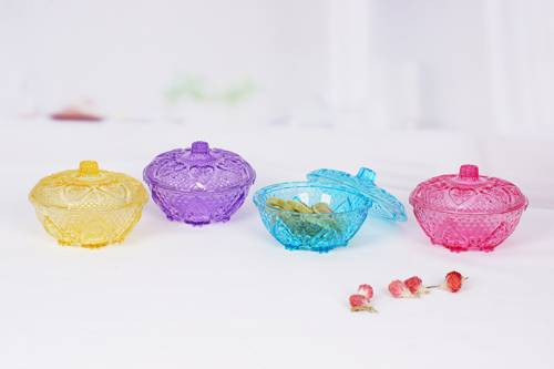 4pcs glass candy jar set with color