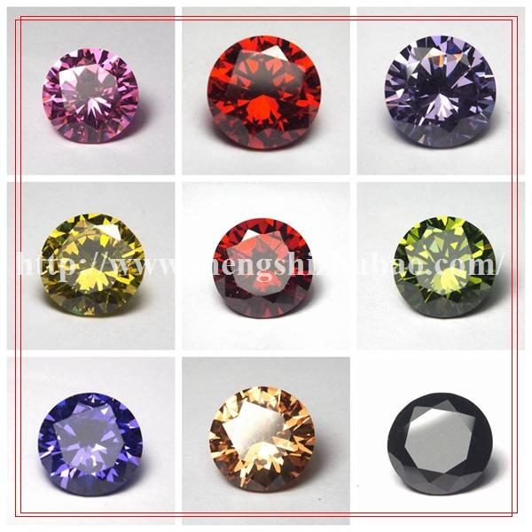 Round wholesales colorful cz stone as mainstone