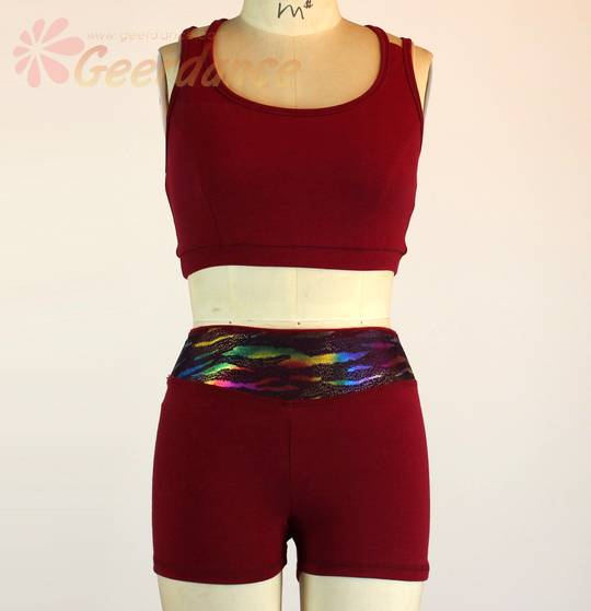 Two ways shorts: high waisted or fold down into low waist cotton lycra dance shorts 30X0006