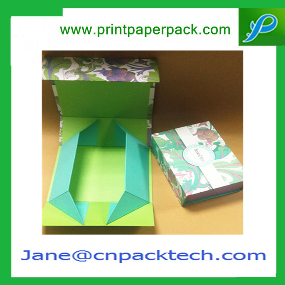 OEM Logo Printed Flat Gift Box with Magnetic Closure Storage Box
