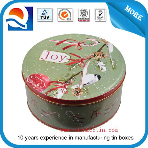 round chocolate tin box