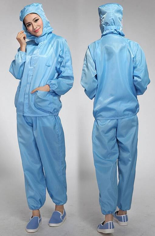 Antistatic Strip/Grid Polyester Cleanroom ESD Clothing
