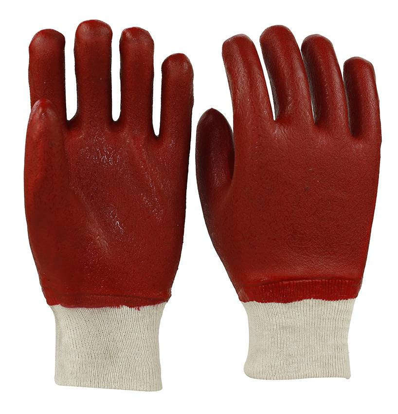 26cm red sandy finished PVC gloves for oil industrail