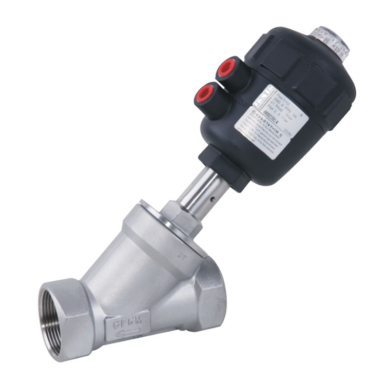 Threaded Pneumatic Angle Seat Valve with PPS Actuator