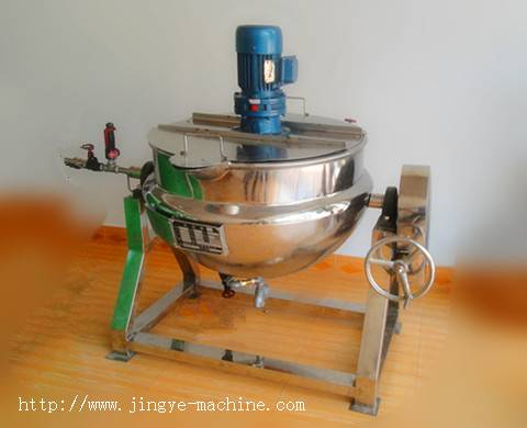 Tilting jacketed kettle with  agitator