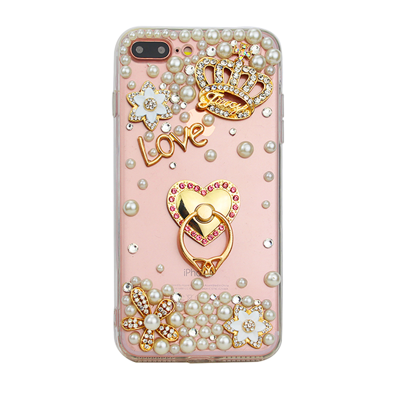 Fashionable Pearls Ring Stand Case Phone Cover for iPhone X/8/7/6s Plus Samsung S8/S7/S6