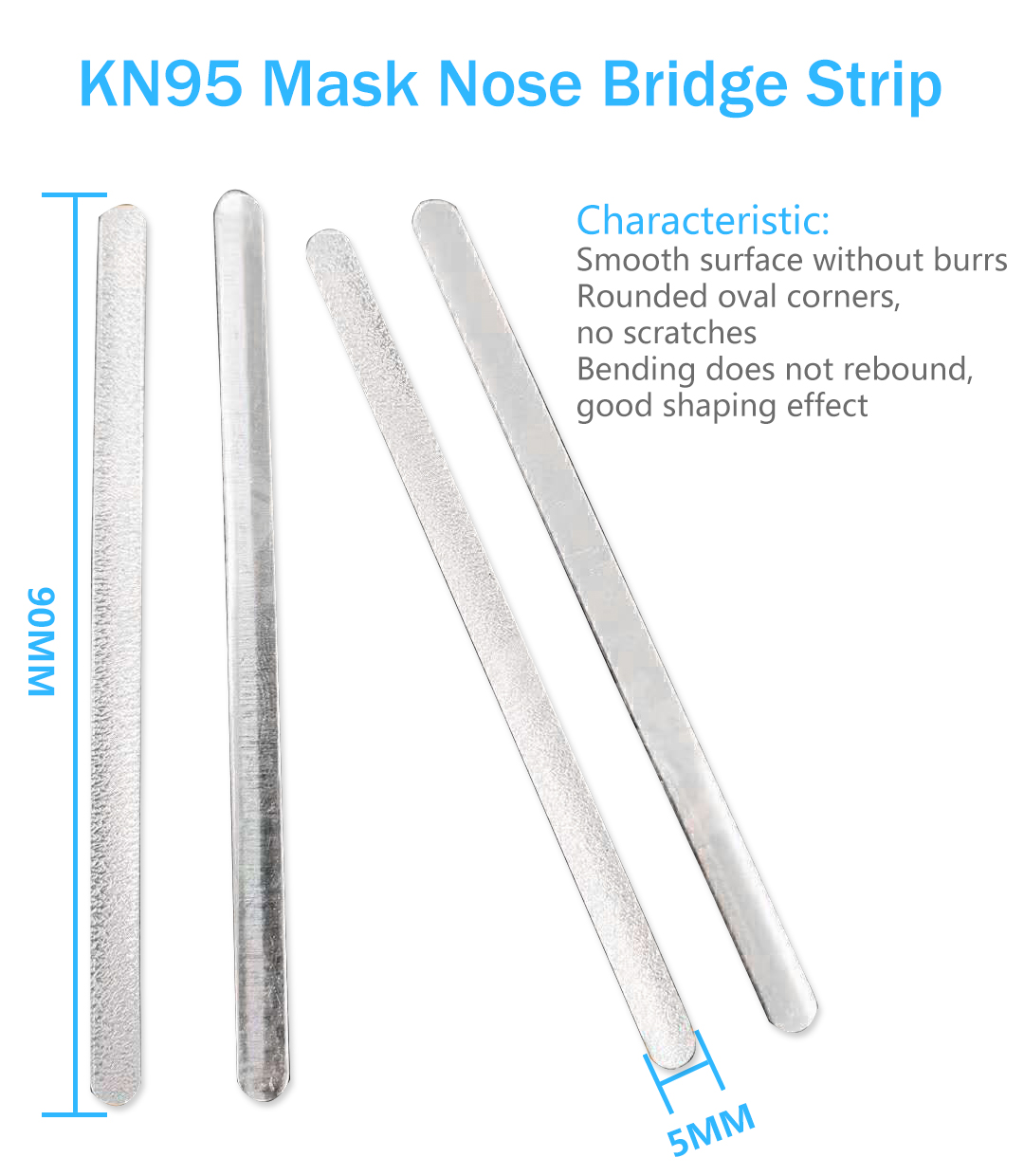 KN95 Mask Accessories Metal Wire bridge Nose Wire Nose strip Nose Bridge Disposable KN95 Face Mask