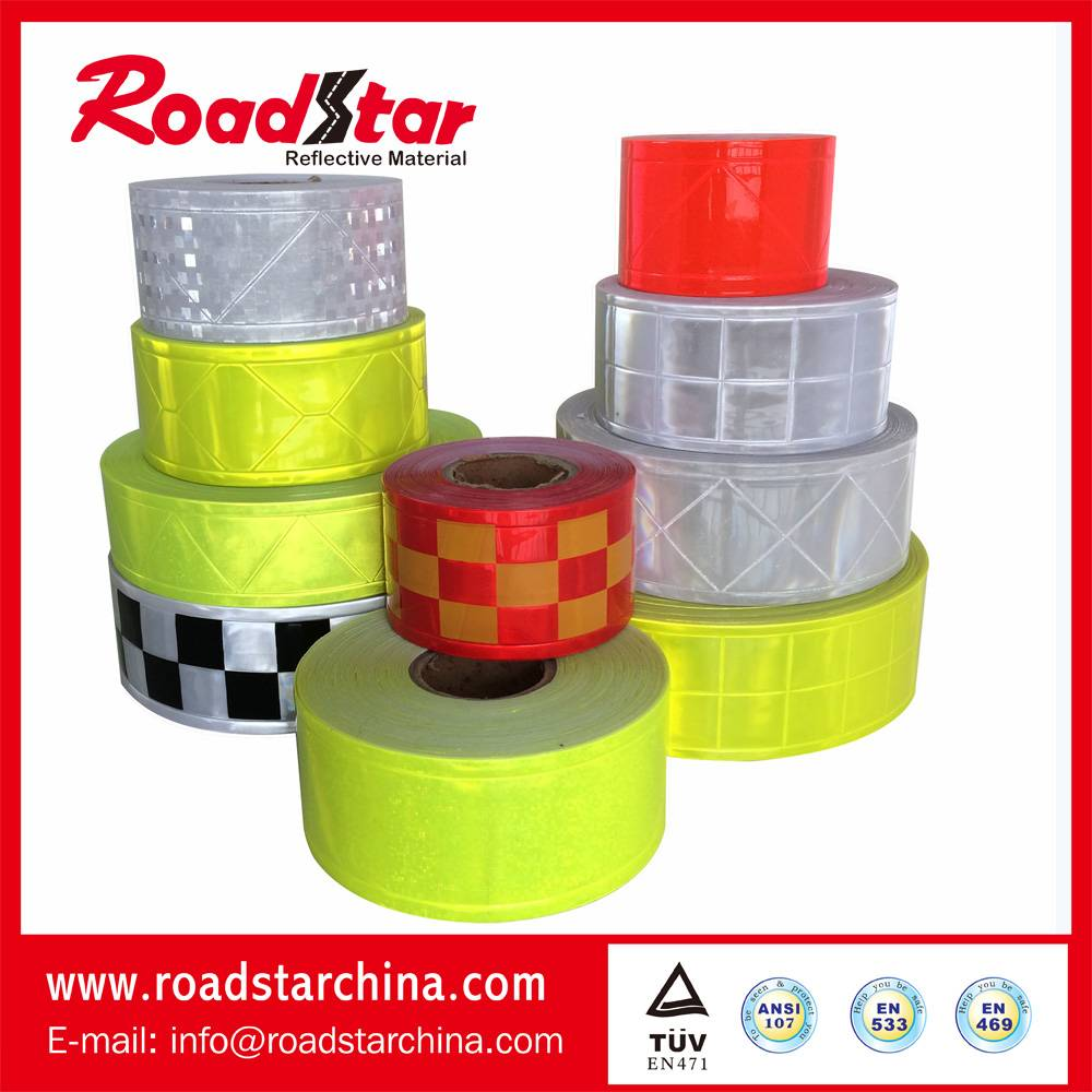 Prismatc reflective PVC tape for personal security
