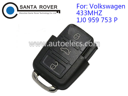 Volkswagen VW Remote Key Square Head 3 Button (433Mhz,1J0 959 753 P)