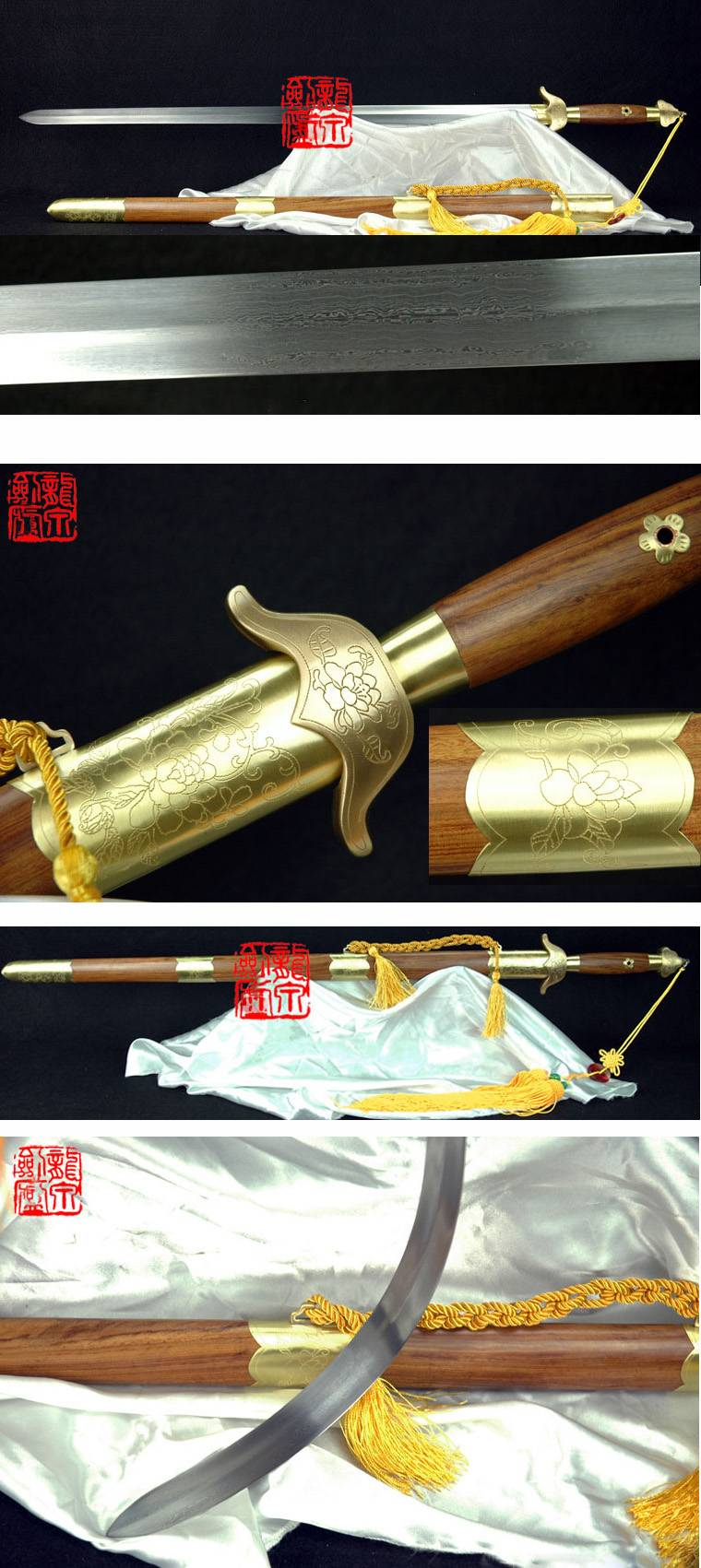 Damascus steel  sword with flower engraving GSJ-014