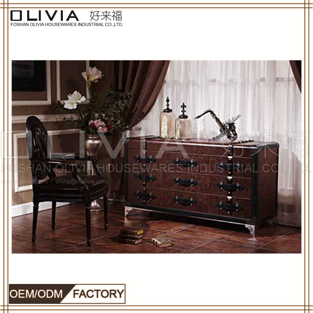 Wholesale Rustic Reclaimed Solid Wood Furniture cabinet chest with 9 drawers X657