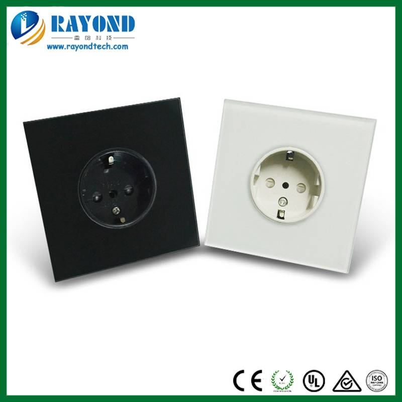 Full Tempered Glass Faceplate German Schuko Socket in Wall