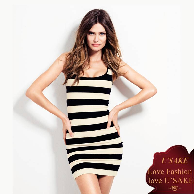 Hot Ladies Stripe Mini Sexy Dress (S305001)