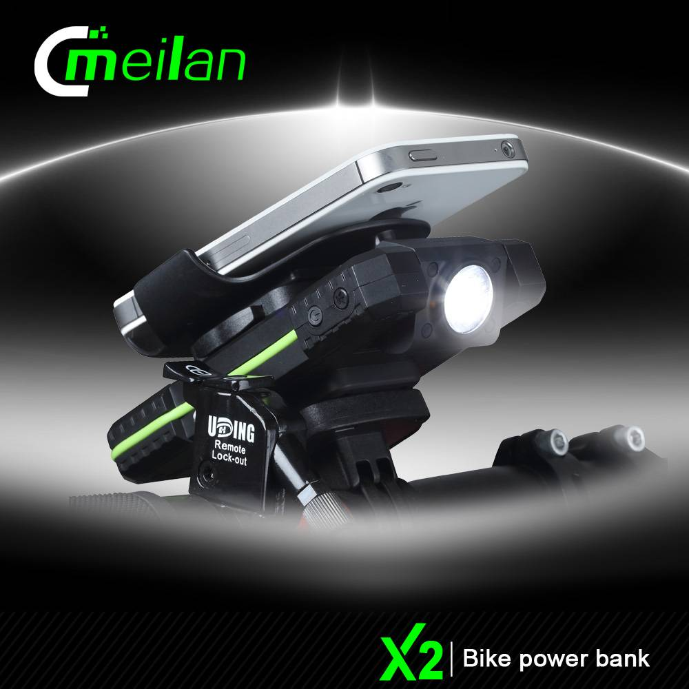 Factory Meilan X2 3 in 1 Bicycle phone mount holder powerbank with front light bike accessories