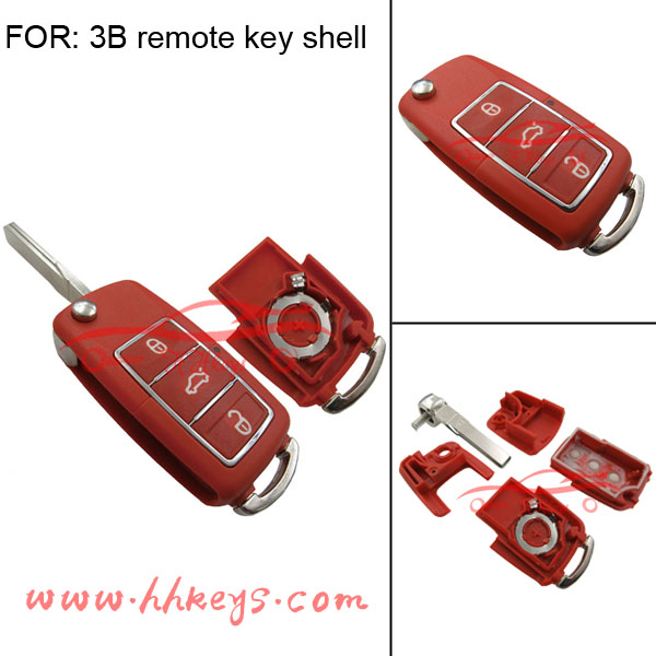 Red 3 buttons VW B5 Style Waterproof Remote Flip Car Key Shell With Battery Place And Blade