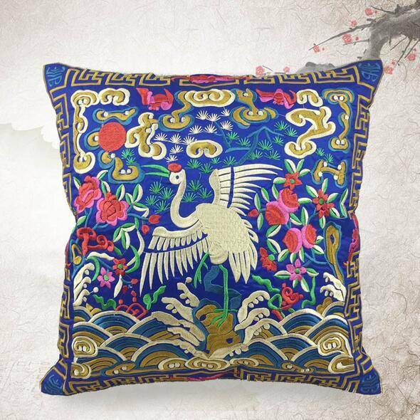 Cranes Embroidery Cushion Cover