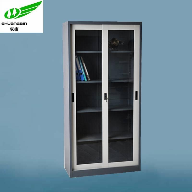 Glass door metal KD office filing cabinet