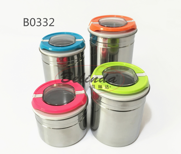 Nice gift item 4pcs colorful stainless steel storage jar canister
